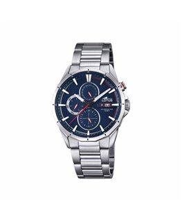 Montre LOTUS Homme multi-fonctions bracelet acier fond bleu rouge