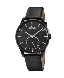 Montre LOTUS Homme bracelet cuir noir fond noir