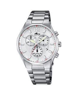 Montre LOTUS Homme chrono bracelet acier fond argenté