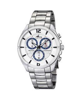 Montre LOTUS Homme chrono bracelet acier fond blanc bleu