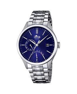 Montre LOTUS Homme multi-fonctions bracelet acier fond bleu argenté