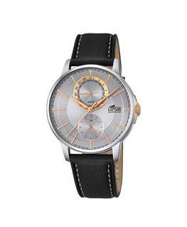Montre LOTUS Homme multi-fonctions bracelet cuir noir fond argenté doré