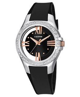Montre CALYPSO Dame bracelet silicone noir fond noir blanc