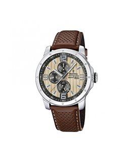 Montre FESTINA Homme multi-fonctions bracelet cuir marron fond beige noir