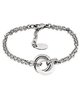 Bracelet LOTUS Dame Acier Anneaux Céramique Blanche