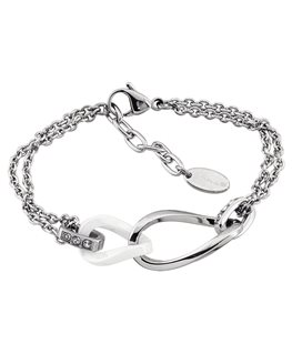 Bracelet LOTUS Dame Acier et Céramique Blanche