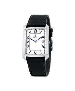 Montre FESTINA Homme bracelet cuir noir fond blanc