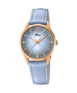 Montre LOTUS Dame bracelet cuir bleu fond bleu