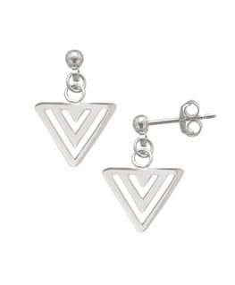 BOUCLES ARGENT 3 TRIANGLES