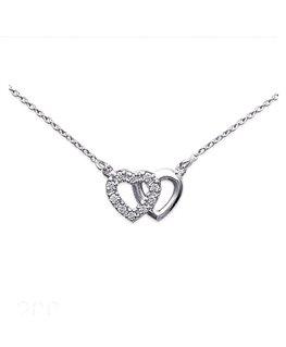 Collier Cœurs entrelacés argent / oxyde
