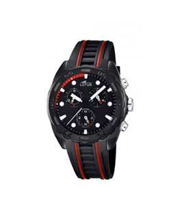 Montre LOTUS Homme chrono bracelet silicone noir rouge fond noir