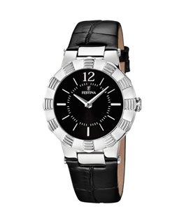 Montre FESTINA Dame bracelet cuir noir fond noir