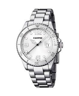 Montre CALYPSO Dame bracelet acier fond blanc argenté
