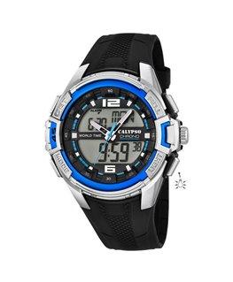 Montre CALYPSO Homme digitale bracelet noir boitier gris bleu