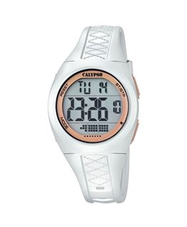 Montre CALYPSO Dame digitale bracelet silicone blanc boitier blanc