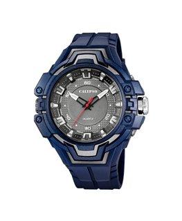 Montre CALYPSO Homme bracelet bleu fond noir boitier bleu