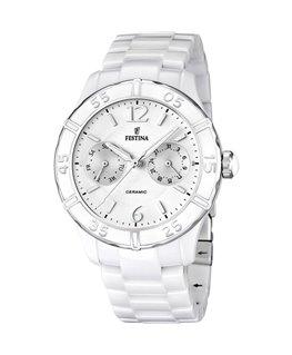 Montre FESTINA Dame multi-fonctions bracelet céramique blanc fond blanc