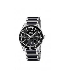 Montre LOTUS Dame multi-fonctions bracelet acier bicolore fond noir