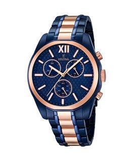 Montre FESTINA Homme chrono bracelet acier bleu - rose fond bleu index rose