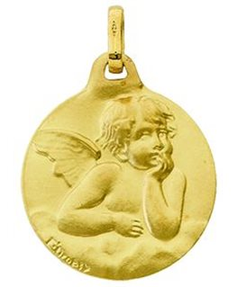 MEDAILLE OR 9 CARATS ANGE RONDE SATINEE