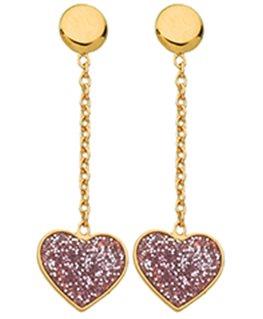 BOUCLES OR 9 carats COEUR PAILLETE ROSE