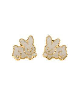 BOUCLES OR 375-000 LAPIN BLANC VIS BOUTO