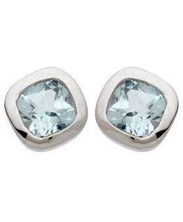 BOUCLES OR GRIS 9 carats CARRE TOPAZE