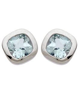 BOUCLES OR GRIS 9 carats CARRE TOPAZE