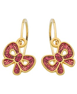 BOUCLES BRISURE OR 9 carats NOEUD FUSCHI