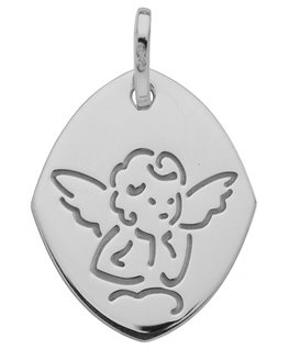 Médaille Or Gris 750-000 Losange Ange sur Nuage