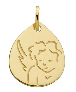 Médaille Or Jaune 750-000 Forme Goutte Cherubin