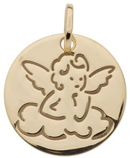 MEDAILLE OR JAUNE RONDE ANGE SUR NUAGE