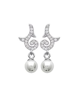 BOUCLES ARGENT OZ + PERLE SYNTH