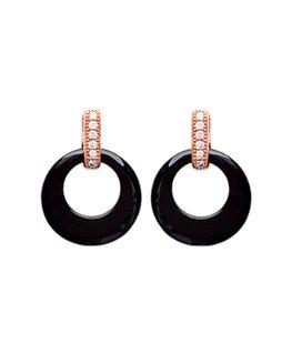 Boucles Plaqué Or Céramique Noir + Oxydes de Zirconium