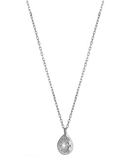 COLLIER OR GRIS OZ POIRE SERTI CLOS 7+5