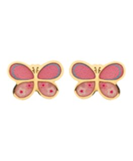 BOUCLES OR JAUNE VIS PAPILLION ROSE