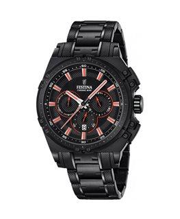 Montre FESTINA Homme chrono bracelet acier fond noir index rouge argenté