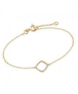 Bracelet Plaqué Or Carré Ajouré + Oxyde de Zirconium