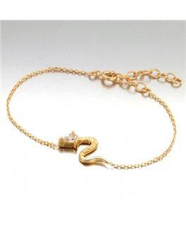 Bracelet Plaqué Or Chaîne Maille Forçat Serpent + Oxyde de Zirconium