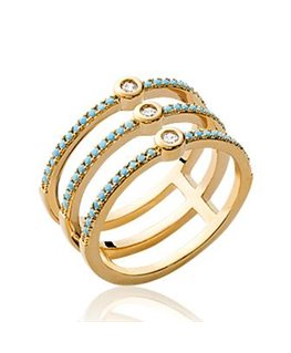 BAGUE PL-OR OZ + PIERRE SYNT-TURQUOISE