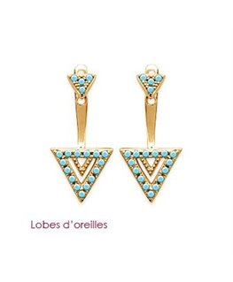 BOUCLES PL-OR TRIANGLE PIERRE BLEU C