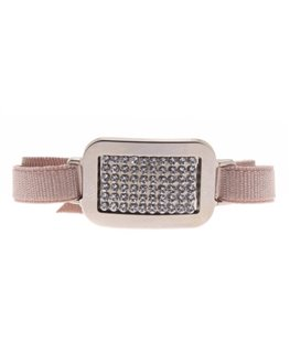 BRACELET PLAQUE CARRE FULL CRISTAL BEIGE