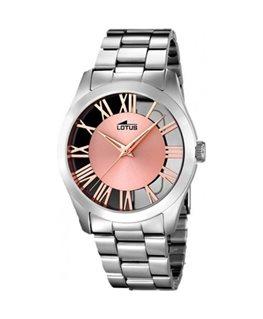 Montre LOTUS Dame Bracelet Acier Fond Transparent et Rose
