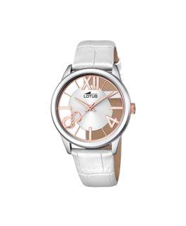 Montre LOTUS Dame Bracelet Cuir Blanc Cadran Fond Transparent