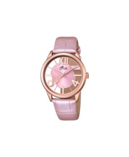 Montre LOTUS Dame Bracelet Cuir Rose Cadran Fond Transparent et Rose