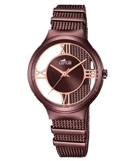 Montre Lotus Dame Bracelet Acier Marron Cadran Fond Transparent Marron