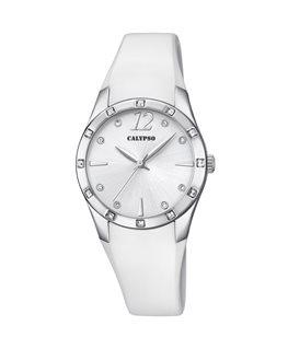 Montre CALYPSO Dame Bracelet Silicone Blanc Cadran Fond Blanc