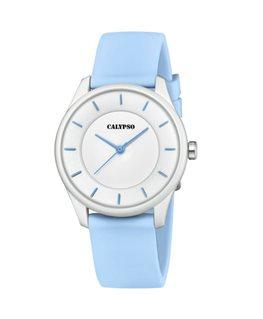 Montre CALYPSO Dame Bracelet Silicone Bleu Cadran Fond Blanc
