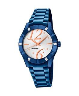 Montre CALYPSO Dame Bracelet Silicone Bleu Cadran Fond Blanc Cuivré