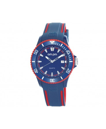 MONTRE MIXTE AM-PM CLUB BLEU + ROUGE